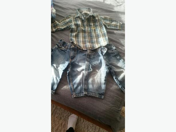 Boys 6-9 months clothes - 2 pr Kenneth Cole Jeans, 1 Timberland shirt