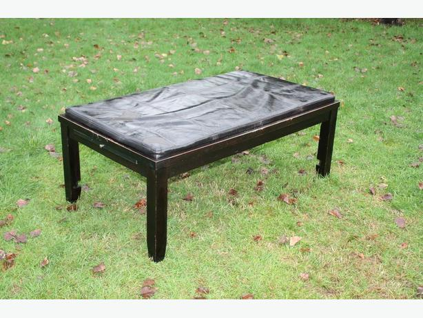 WOODEN COFFEE TABLE/OTTOMAN  WITH PULL OUT SERVERS $20