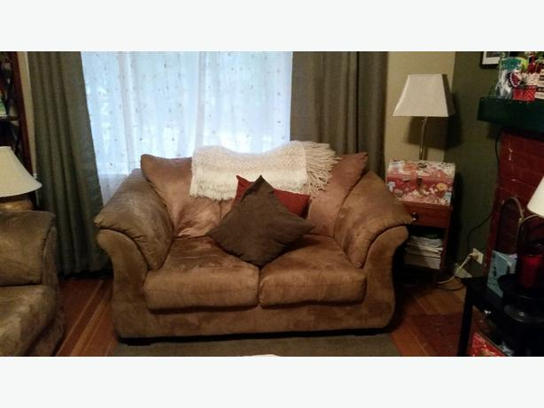 brown microsuede couch and loveseat