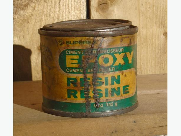 Vintage 1980's Superex Epoxy Resin (5 Oz.) Paper Label Tin Can