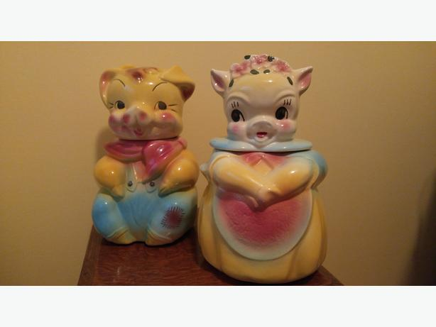 Pair of Boy & Girl Cookie Jars American Bisque