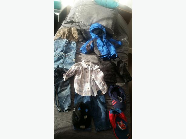 18 month old boys lot of clothes - snowsuit, quicksilver hat, more
