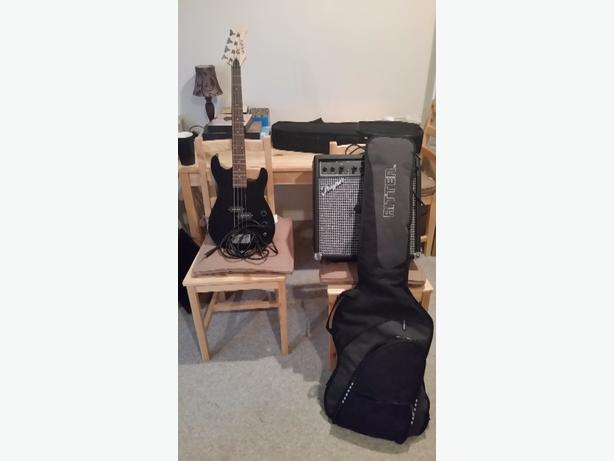 Black Bass Guitar w/ amp and bag