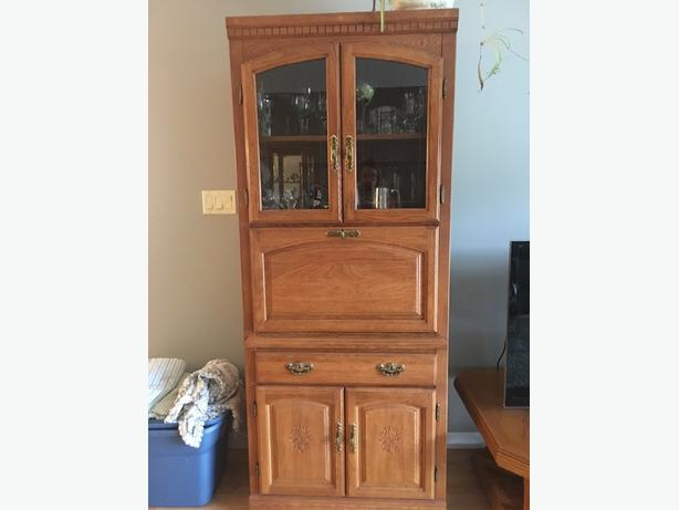 Moving Sale - Oak wall unit with or without glass