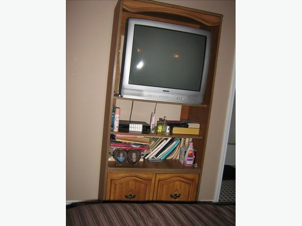 "Wood TV Cabinet 72""H 33""W and 28"" TV in great working order"