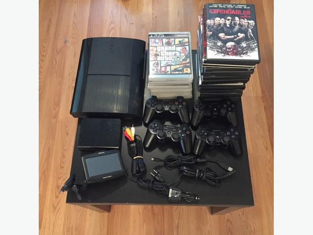 PS3 Ultra Slim + 4 Controllers + 9 Games + Lots of Extras