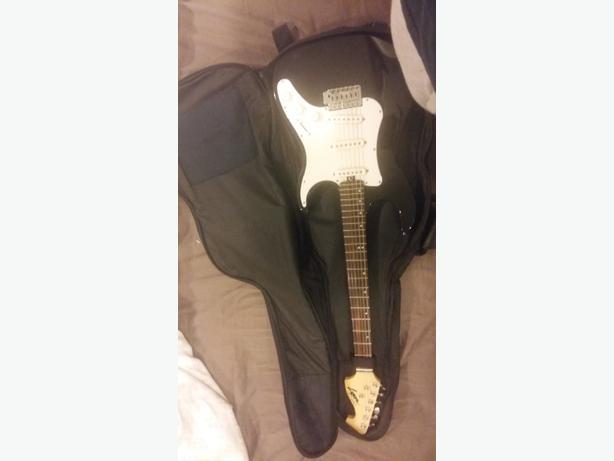black and white lyon electric guitar