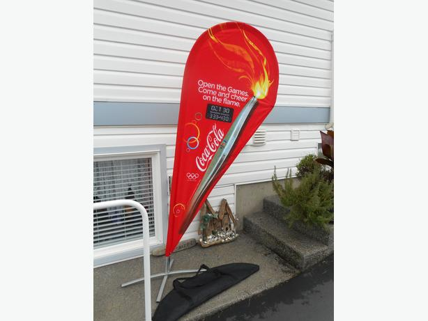 Coke 2009 Open the Games Torch Flag stand. $125 00   OBO