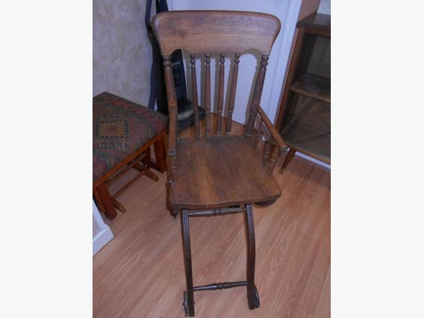 Antique Oak Collapsable High Chair