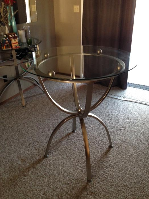 Modern Brushed Nickel And Glass Kitchen Dining Table By