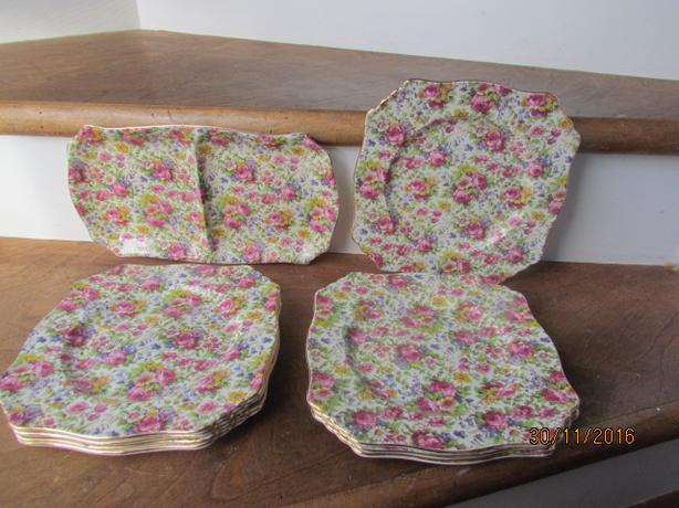 9 Piece Royal Winton Summertime Chintz Dinner Plates & Divided Dish