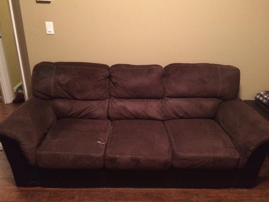 Free Brown Suede And Leather Couch North Saanich Sidney