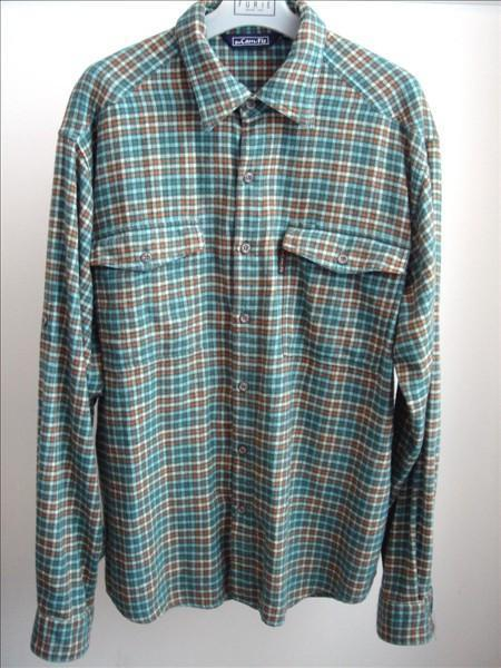 Green Rust Plaid Flannel Shirt By Pro Cam Fis Size Xl