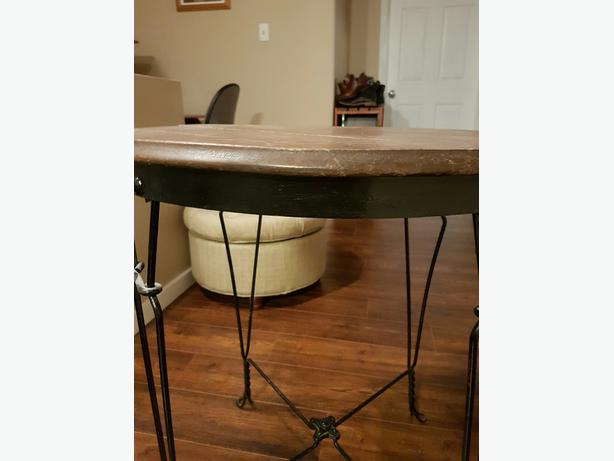 Antique Wrought Iron Side Table Parlor Table