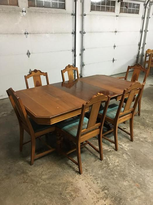 1940 S Black Walnut Dining Table Sideboard Amp Chairs