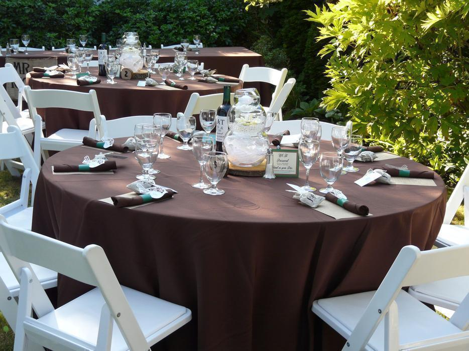 100 Guests Chocolate Brown Tablecloth Amp Napkins Table