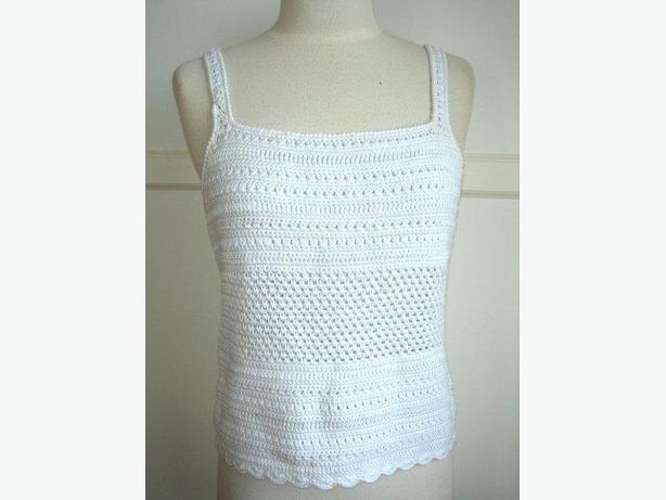 b37c2ab66ad5a Ralph Lauren White Hand Knit Crochet Tank Top   Sleeveless   Cami ...