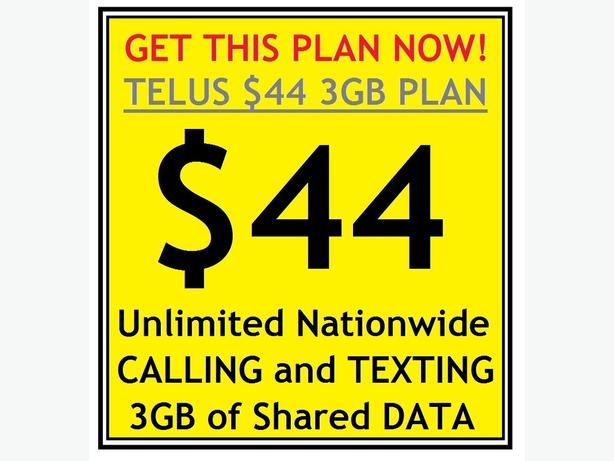 Get the Telus $44 Unlimited Nationwide Voice/Text and 3GB Data Plan!