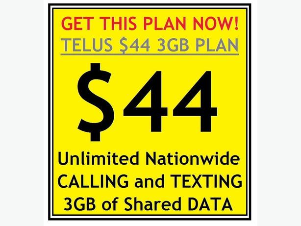 Get the Telus $44 Unlimited Nationwide Voice and 3GB Data Plan!