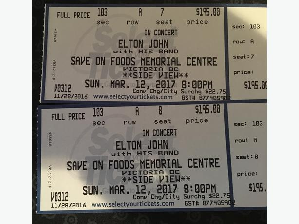 Elton John Sunday March 12th (front row side view) two available