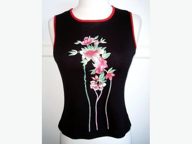 Red 2 - Black Red Flower Tank Top / Sleeveless / Cami