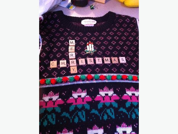 Ugly christmas sweaters fishing motif and more sooke for Fishing christmas sweater