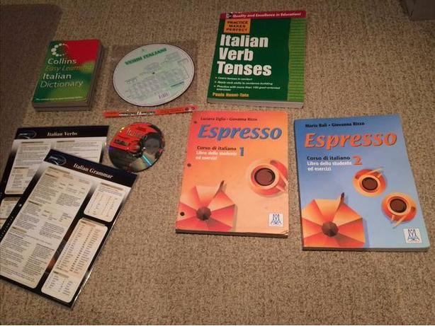 Italian language learning guides,charts and cd
