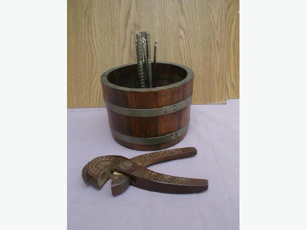 Wooden Bucket/Barrel / Nut Bowl Metal Nut Cracker and picks
