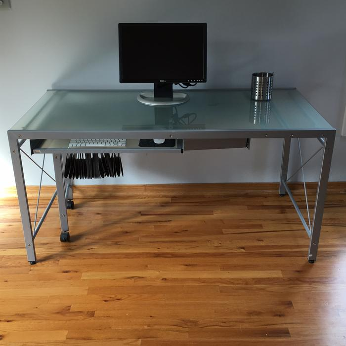 Modern Steel And Glass Expanding Desk Stittsville Ottawa