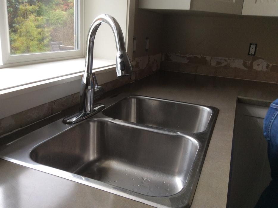 Stainless Steel Double Sink And American Standard Pull