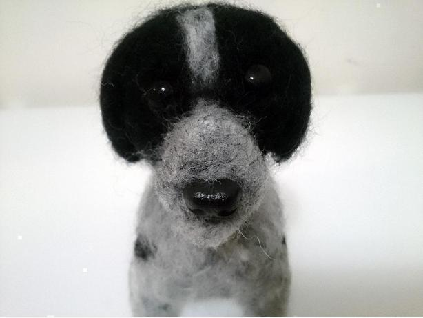 *NEW* Handmade Custom Black & Grey Wool Felt Art Dog