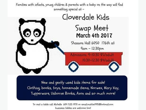 Cloverdale Kids Swap Meet March 4 / 2017  Shannon hall