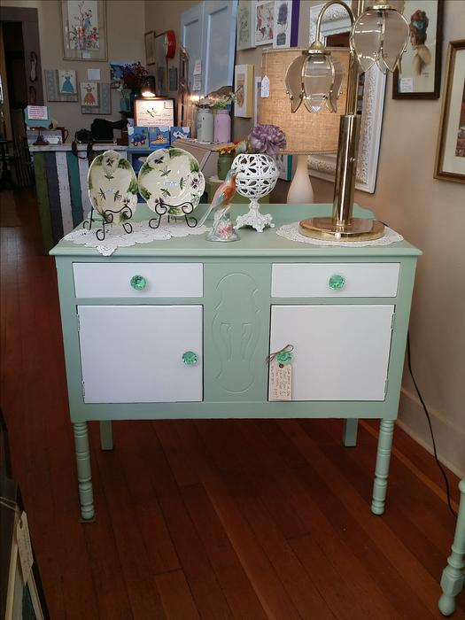 Green Cabinet Sideboard With Glass Cut Knobs At Creative