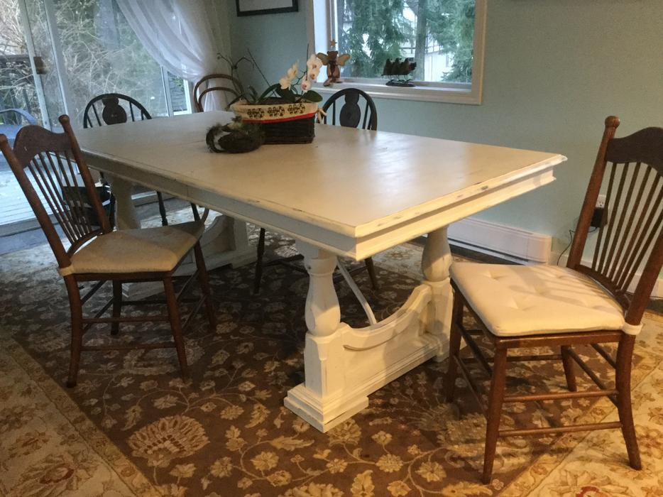 Used Display Tables ~ Oak dining or display table in shabby chic antique white