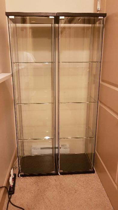 Ikea Detolf Glass Display Cases With Dioder Led Lighting