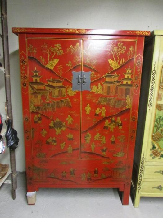 Asian furniture hand painted chemainus cowichan for Hand painted oriental furniture