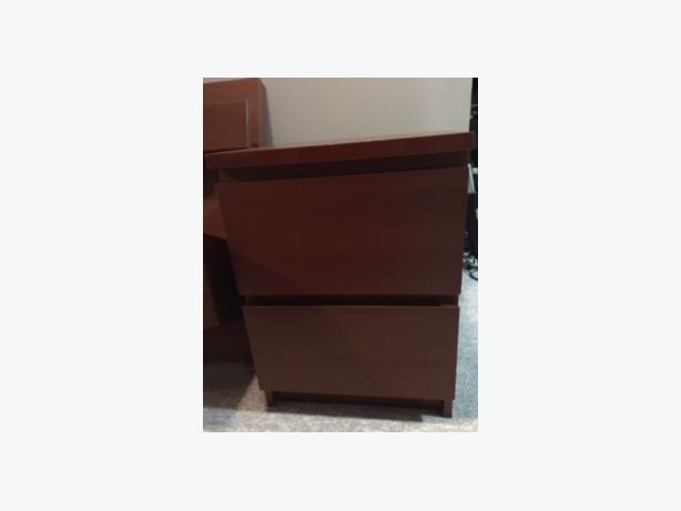 Malm End Tables Medium Brown 2 Drawer Floating