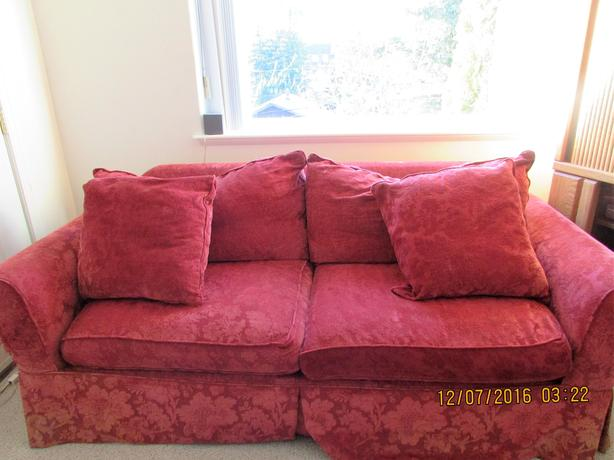 Red vintage sofa bed chintz and co victoria city victoria for Sofa bed victoria bc