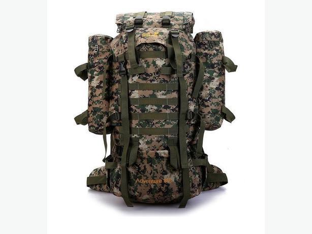 JACK WOLFSKIN Nylon Rucksack Backpack Bag with Raincover - 80L - Green Brown
