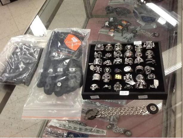 Biker clothing merchandise.