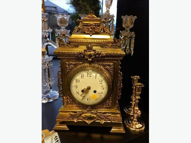 LARGE BRASS CASED TABLE CLOCK BY FRITZ MARTI, FRENCH - CIRCA 1900