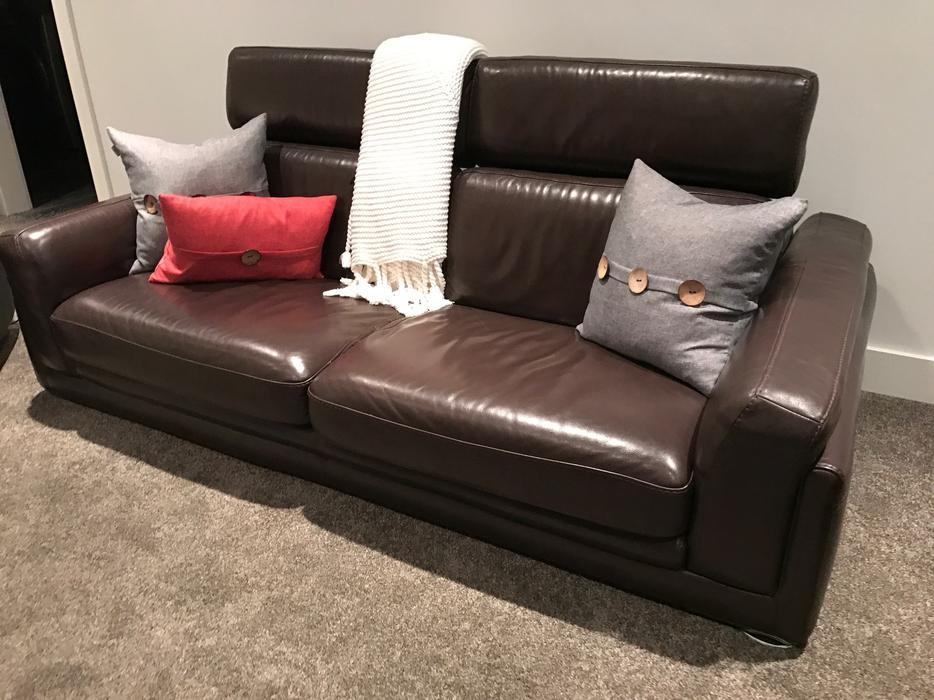 Scan Designs Brown Leather Modern Sofa And Love Seat Oak