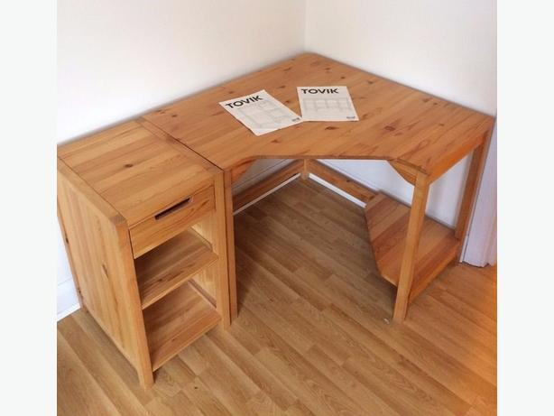 Ikea corner desk solid wood pine victoria city victoria for Pine desk ikea