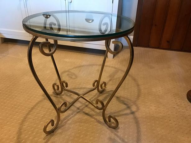 Round wrought iron and glass side table oak bay victoria for Wrought iron side table base