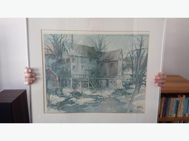 "Garnet Hazard Painting: ""Mill in Winter by River."""