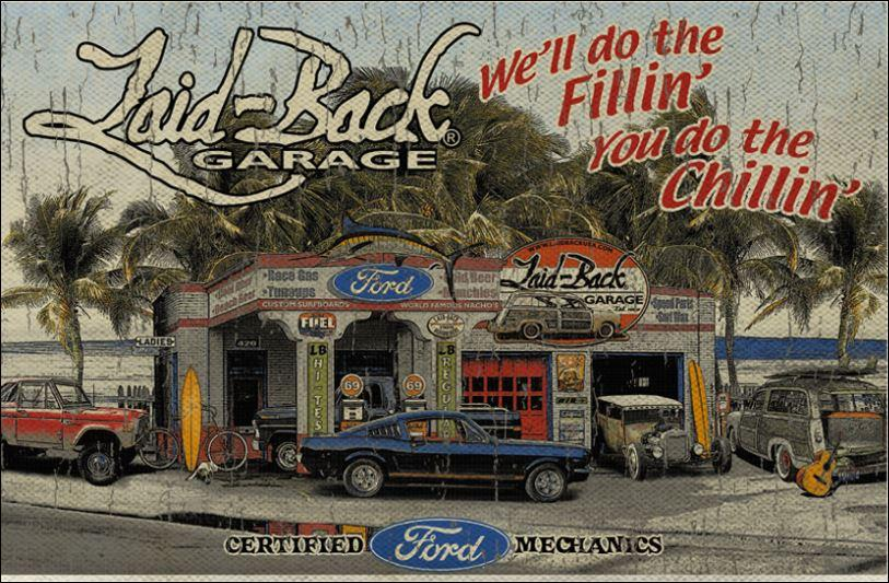 Wall banner featuring classic ford mustang fastback for Garage ford vernon