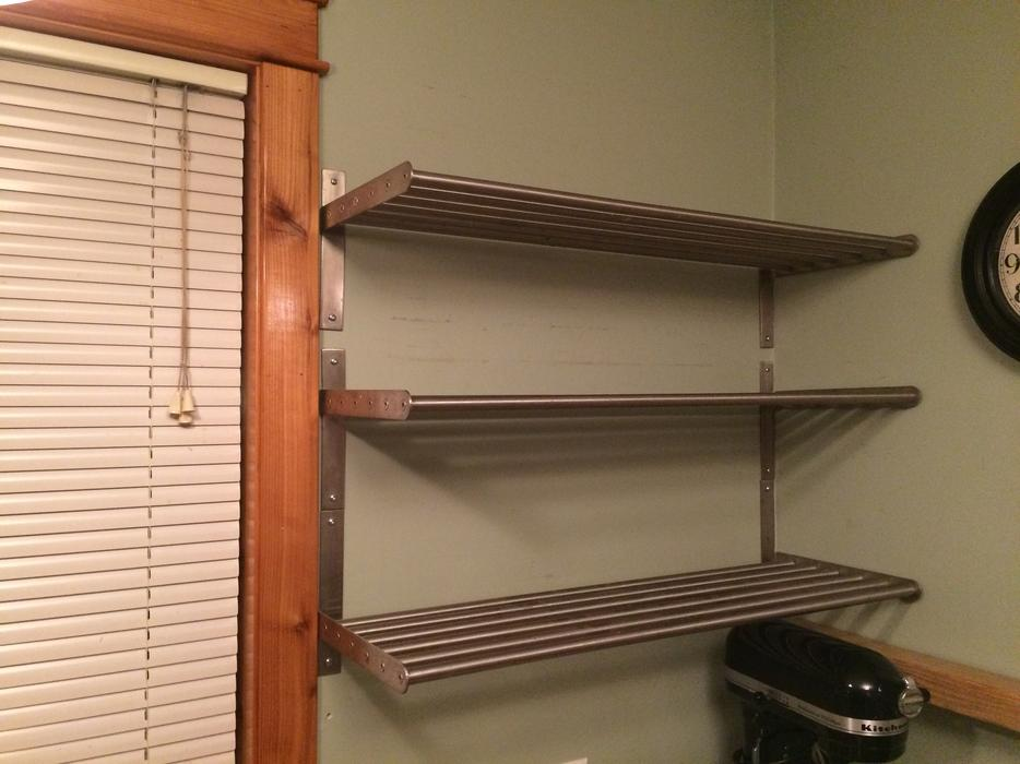 Set of 3 metal ikea shelves cedar nanaimo for Ikea metal wall shelf