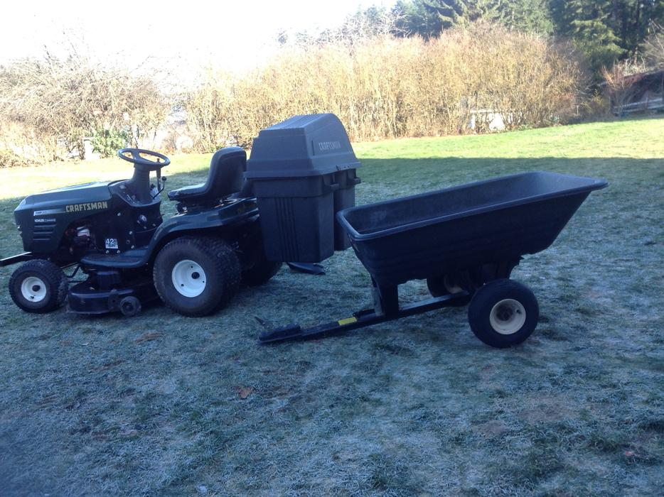 Craftsman Double Bagger : Craftsman quot mower with double bagger and trailer outside