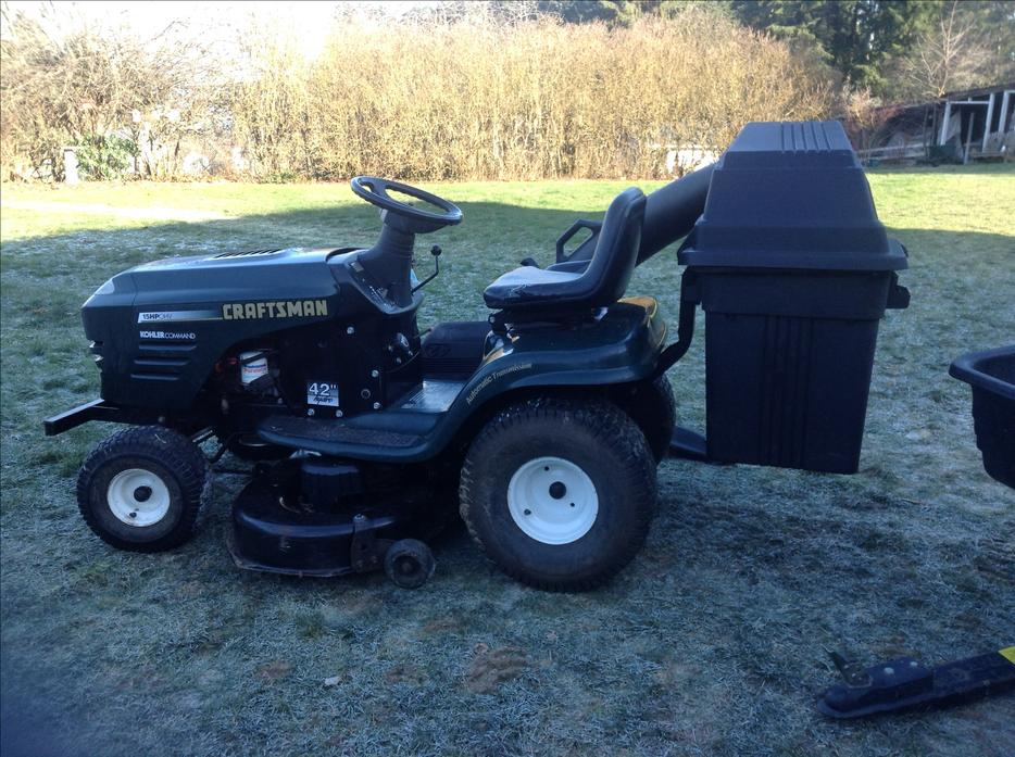 Craftsman Double Bagger : Craftsman mower quot with double bagger and trailer outside