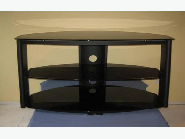 Steel and glass TV and entertainment stand